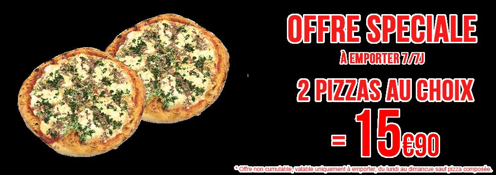 Offre spéciale 2 pizzas à emporter !